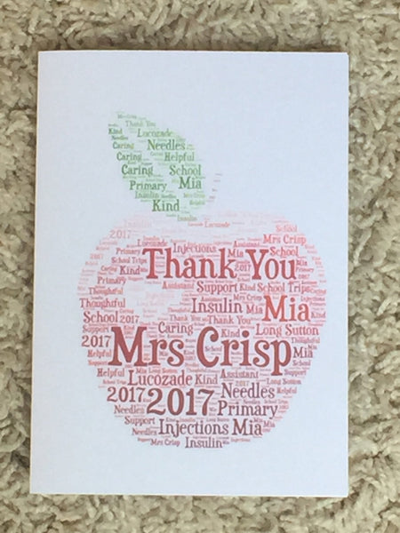 Teachers Apple A5 Personalised Typography Word Art Card, Cards for Teachers, End of Term, Thank You Teacher, Customised Card, Pupil Card