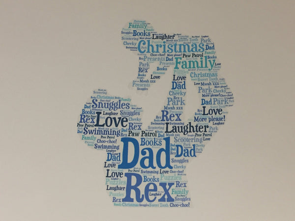 Father's Day A5 Typography Word Art, A5 Personalised Card, Choice of Colour/s, Choice of Words, Choice of Shape, Birthday Card,Cards for Men