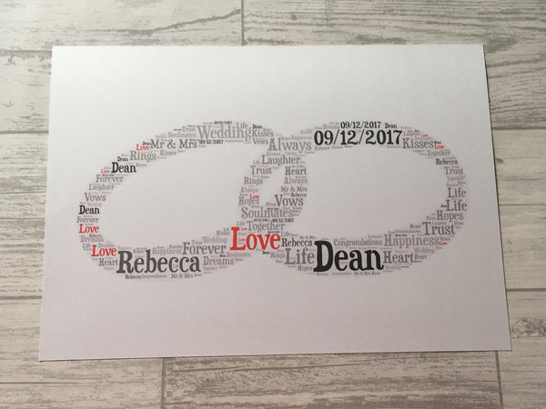 Wedding or Anniversary A5 Typography Word Art, A5 Personalised Card, Choice of Colour/s, Choice of Words, Choice of Shape, Wedding Card.