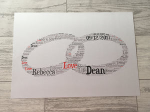 Wedding or Anniversary A4 Typography Word Art, A4 Personalised Card, Choice of Colour/s, Choice of Words, Choice of Shape, Wedding Card.