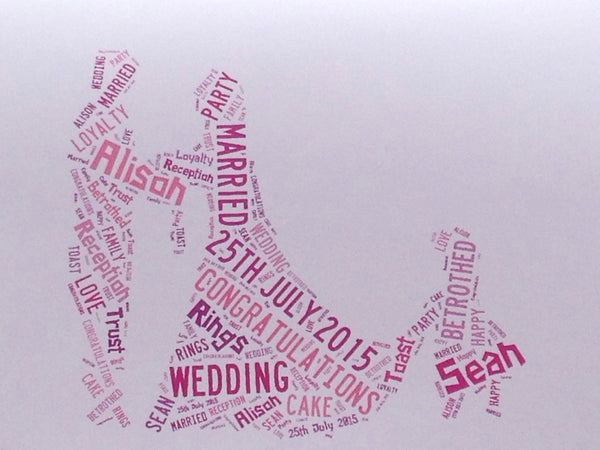Wedding or Anniversary A4 Typography Word Art, A4 Personalised Unframed Print, Choice of Colour/s, Choice of Words, Choice of Shape.