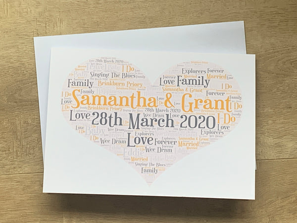 Valentines Day A5 Typography Word Art Personalised Card, Choice of Colour/s, Choice of Words, Valentines Card, Love Card, Wedding Card