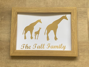 Family Name and Animal Framed A4 Vinyl Print, Your Choice of Animal, Your Family Name, & Your Choice of Colour. Gifts for Her, Gifts for Him