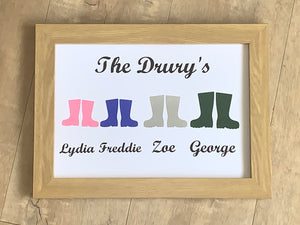 Family Names Personalised Welly Framed A4 Vinyl Print, Your Family Name, & Your Choice of Colour/s. Gifts for Her, Gifts for Him