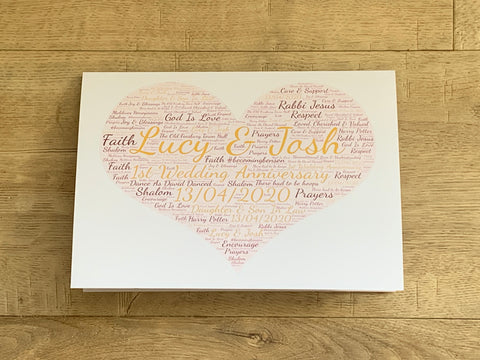 Heart Shape A5 Typography Word Art Personalised Card, Choice of Colour/s, Choice of Words, Valentines Card, Wedding Card, Anniversary Card.