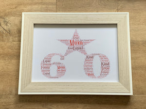 Number Shaped Typography A4 Framed Personalised Word Art, Special Birthday, Choice of Words, Choice of Number, Gifts for Her, Gifts for Him