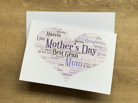Mother's Day A5 Typography Word Art, Personalised Card, Choice of Colour/s, Choice of Words, Choice of Shape, Birthday Card, Cards for Women