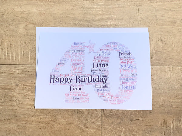 Age Print, Number A4 Typography, Personalised Unframed Print, Choice of Colour/s, Choice of Words, Choice of Number,Special Birthday,Keepsake Card