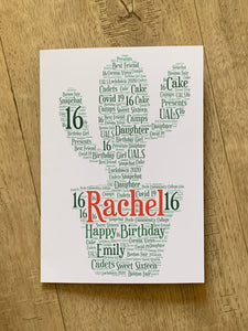Shaped Typography Word Art A4 Personalised Card, Choice of Colour/s, Choice of Words, Choice of Shape, Birthday Card, Leaving Card