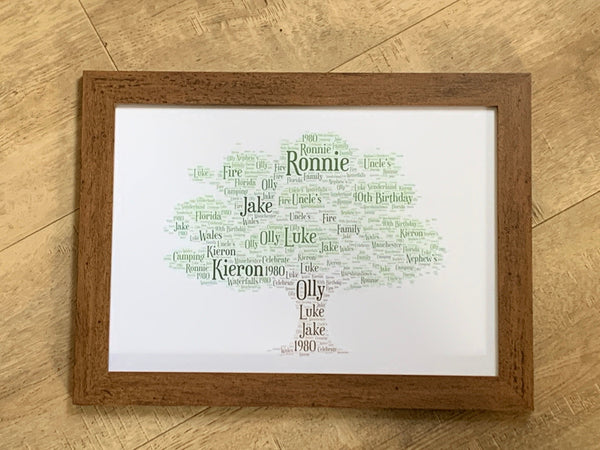 Family Tree A4 Typography Word Art, A4 Framed Print, Choice of Words, Personalised Print, Gifts for Her, Gifts for Him, Christmas present
