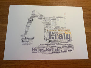 Vehicle or Farm Machinery Shape A4 Typography Word Art Personalised Card, Choice of Colour/s, Choice of Words, Choice of Shape, Special Card