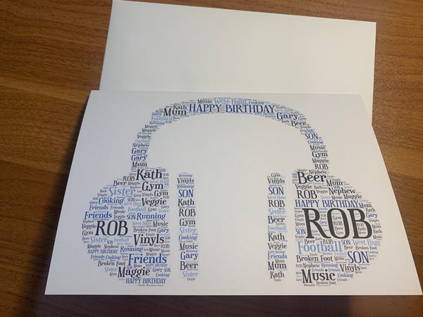 Music Themed A5 Picture, Personalised Typography A5 Word Art Greetings Card, Guitar, Drums, Headphones, any shape/colour/s, own words.