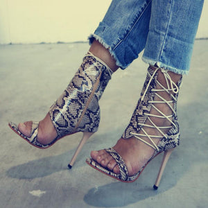2ca8f2c6461db5 Sexy High-Top With Snake-Like High-Heel Sandals