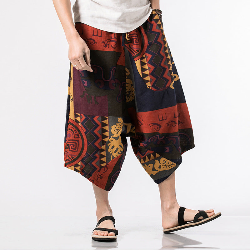 Fashion Loose Floral Printed National Pants