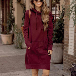 4d7fc436951 Pure Color Long Pocket Hooded Dress