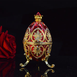 QIFU New arrive red color easter egg trinket box faberge egg home decoration accessories