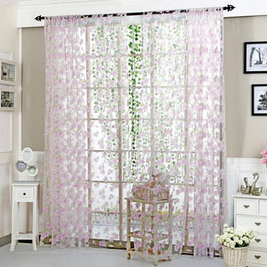Curtains Green Leaves Large Flowers Thin Yarn Floating Window More Color Offset Printing Section Indoor Furniture Products