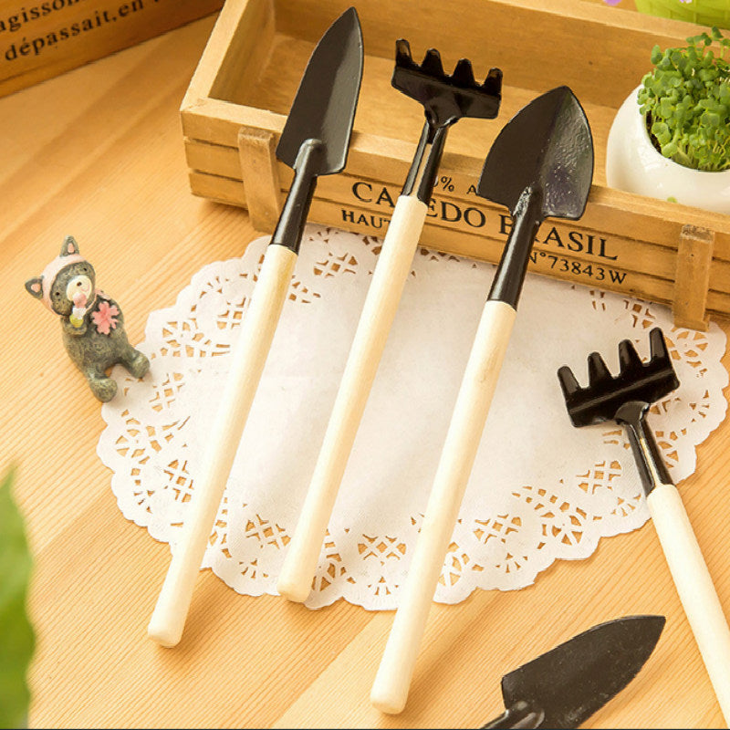 3pcs Mini Portable Gardening Tool Metal Head Shovel Rake Spade Garden Plant Wooden Handle Tool Set