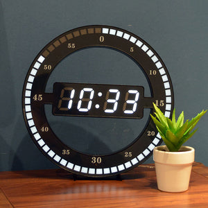 Creative Mute Hanging Wall Clock Black Circle Automatically Adjust Brightness Digital Led Display Desktop Table Clock
