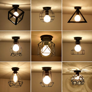 Vintage Ceiling Lights Iron Black Ceiling Lamp Retro Cage Light Kitchen Fixtures Luminaria Lamparas De Techo Home Lighting