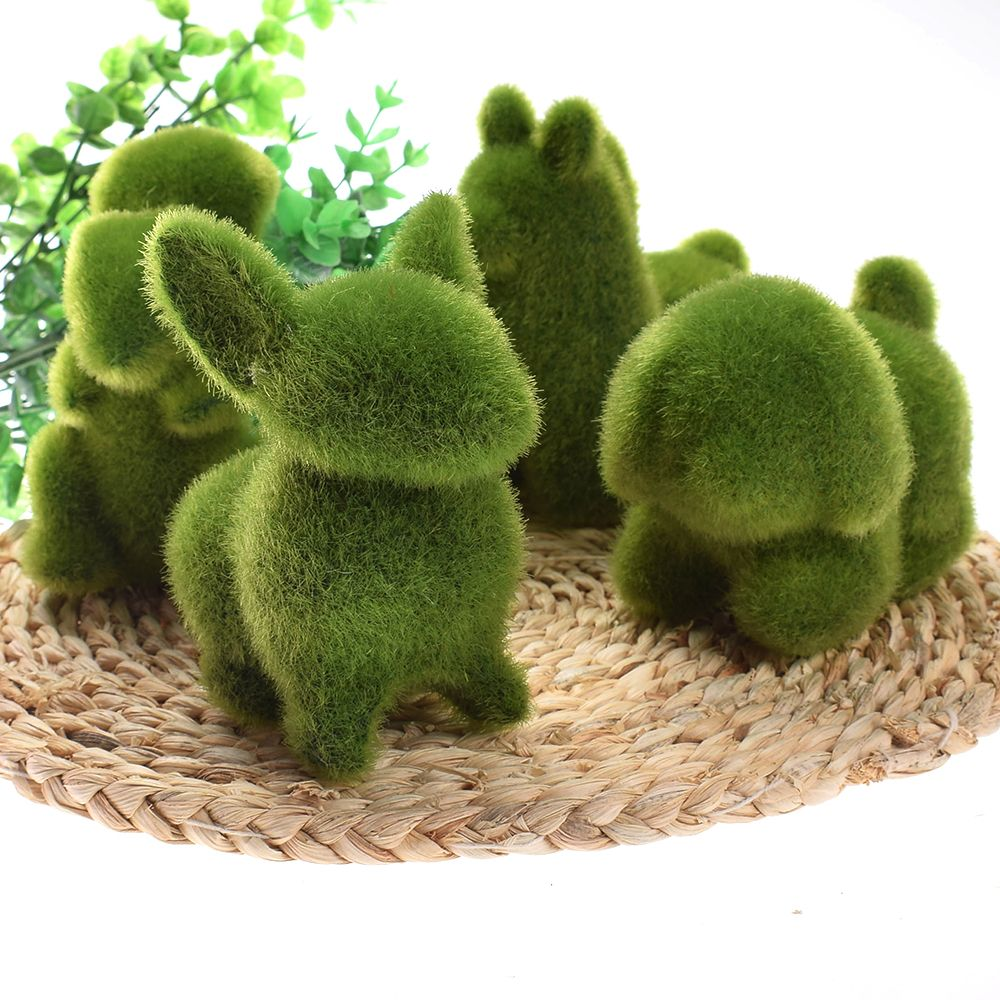 Cute Animal Shape Simulation Green Grass Ornaments Emulational Green Plant Bonsai Grass Animal Decoration For Home Garden