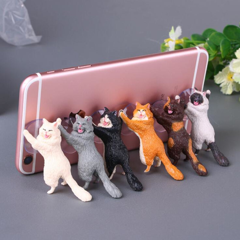 Cat Sucker Animal Phone Bracket Ornament Home Decoration pvc Craft Decor DIY Drop Shipping
