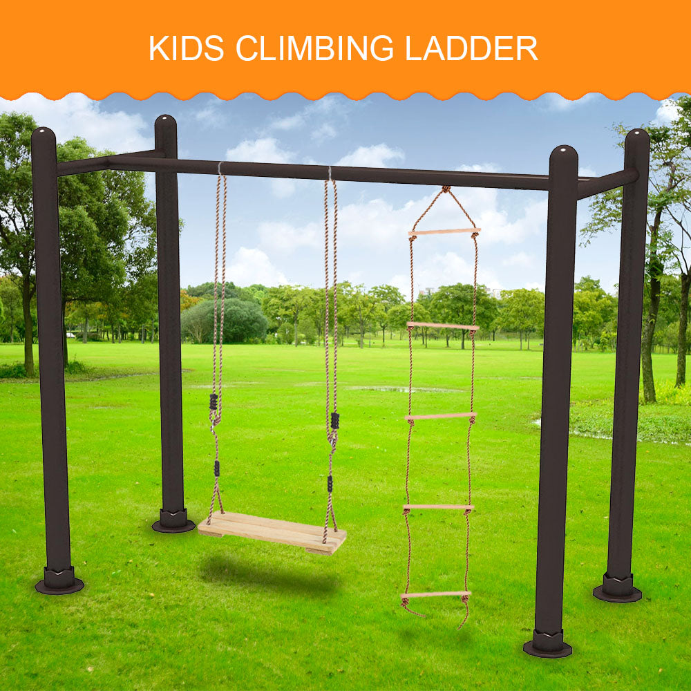 New Child Outdoor Sturdy Indoor  Rope Climbing Ladder 5 Rungs Ladder Kids Children Park Playground Yard Toy Play Fun Sports Tool