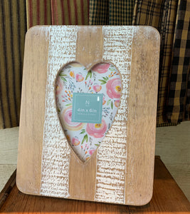 Wood Picture Frame with Heart Cutout
