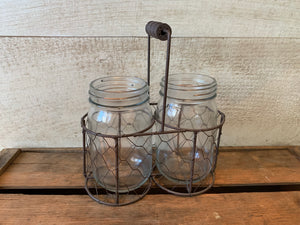 Two Jars in Mesh Basket