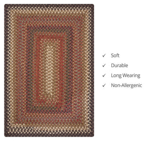 Multi Multi Wool Braided- Rectangle- 20x30- Calico Brown