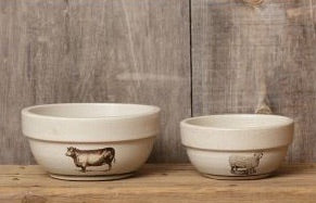 Primitive Cow and Sheep Pottery Bowls