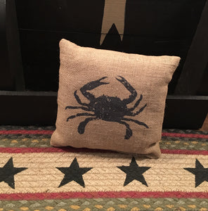 Small Burlap Crab Pillow
