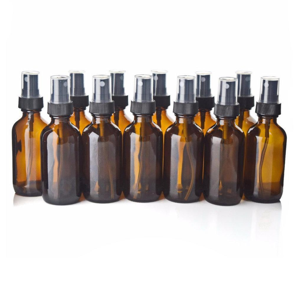 12 x 60ml Amber Glass Spray Bottles