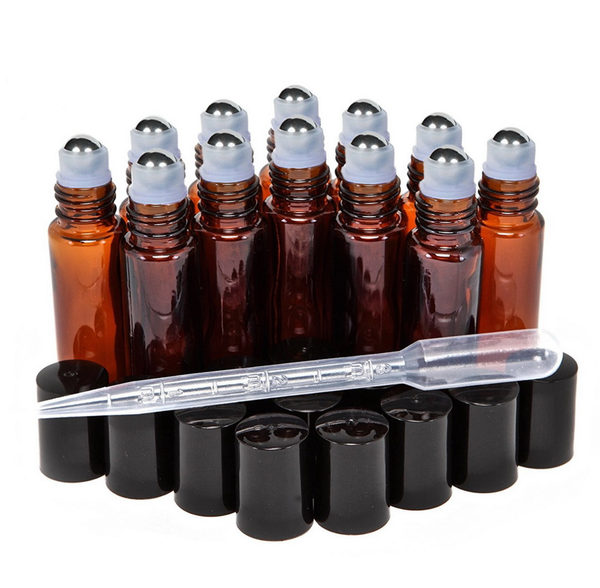 12 X 10ml Amber Glass Roller Bottles
