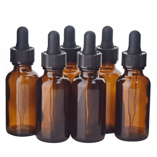 6 X 30ml Amber Glass Dropper Bottle