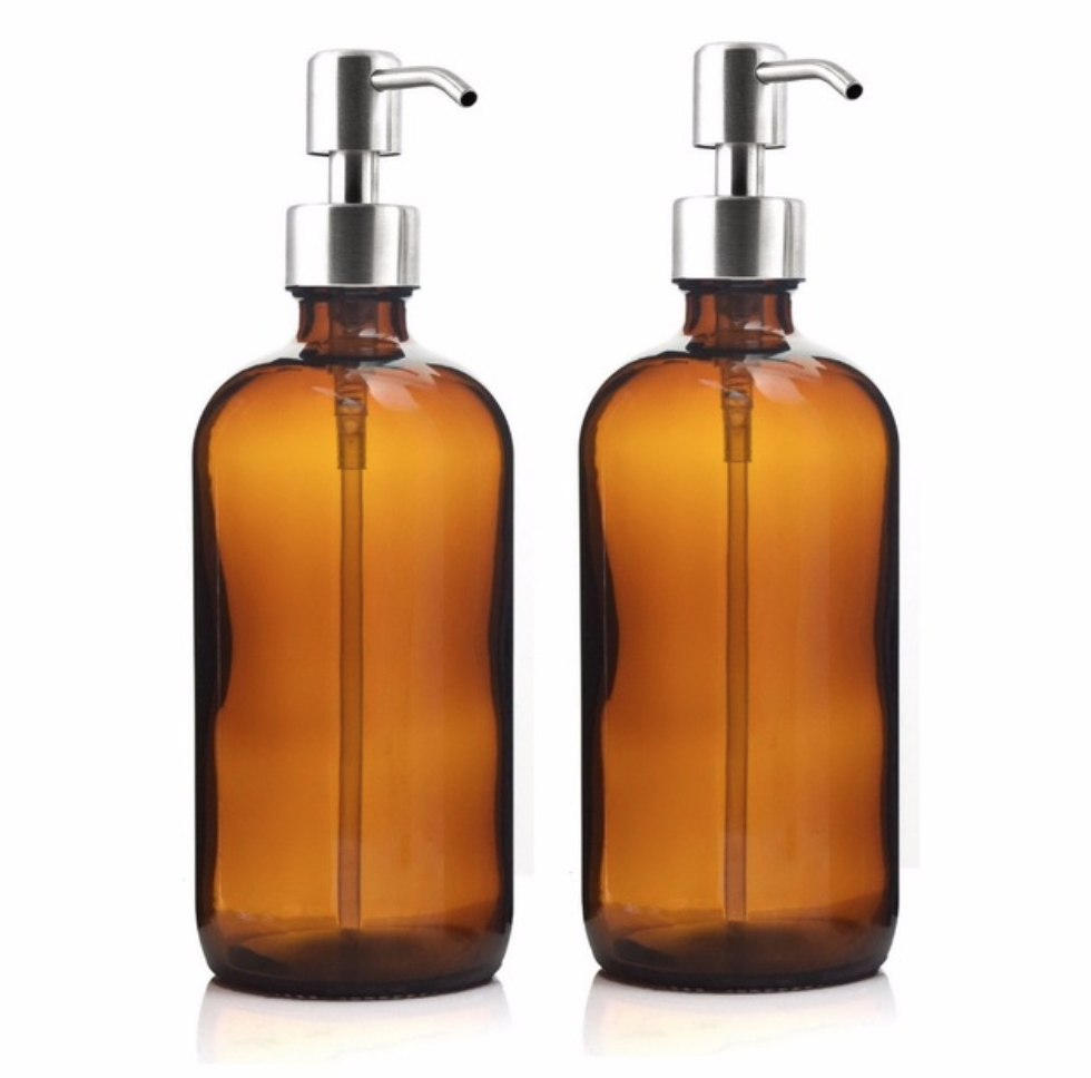 2 x 500ml Liquid Soap Dispenser Amber Glass Pump Bottle