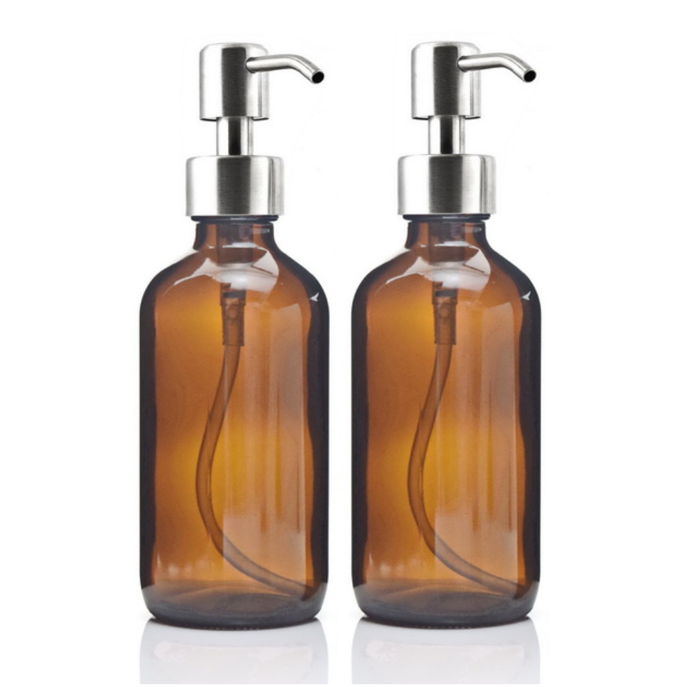 2 x 250ml Liquid Soap Dispenser Amber Glass Pump Bottle