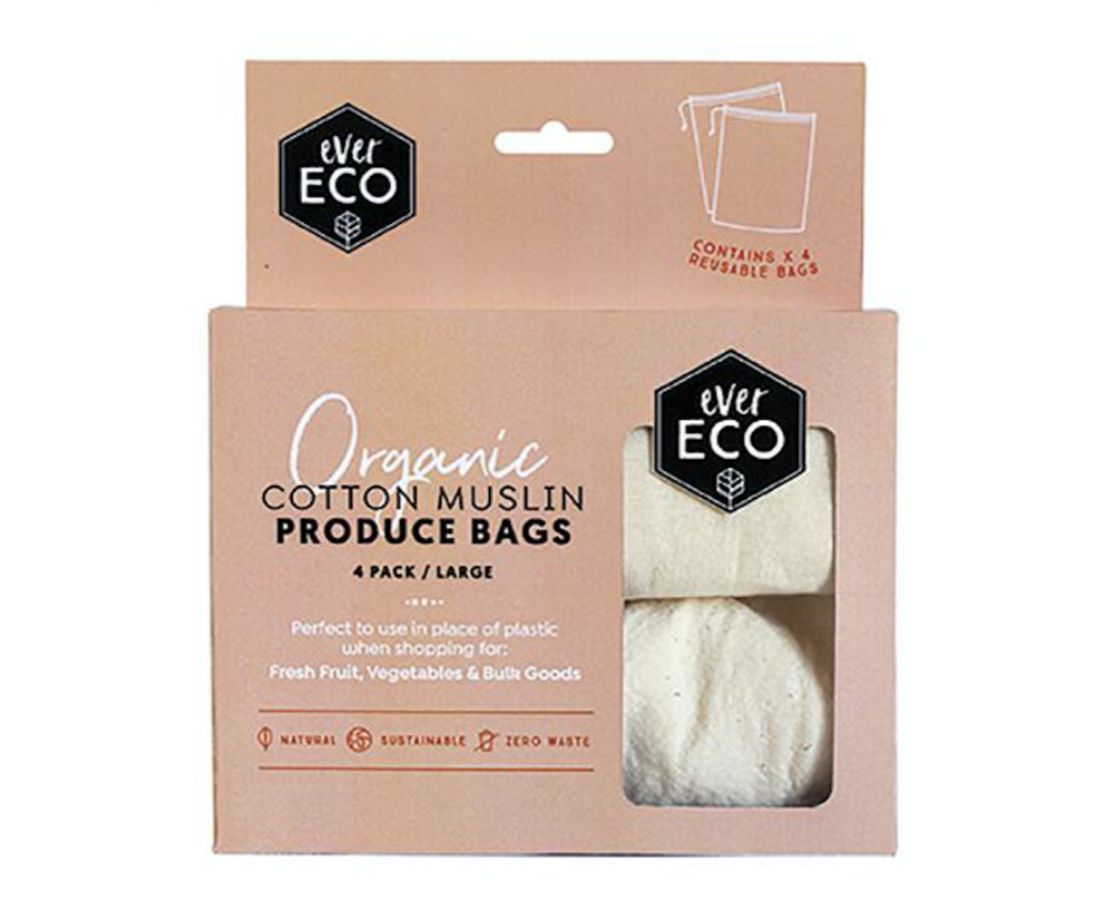 Ever Eco - Organic Cotton Muslin Produce Bags 4 Pack