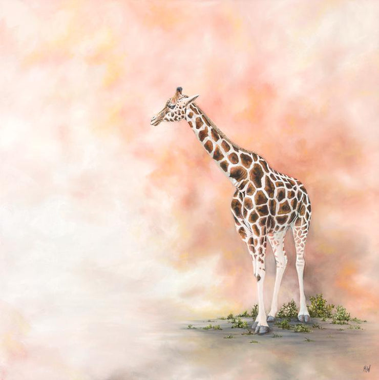 Giraffe Painting Alone in the Dust Image