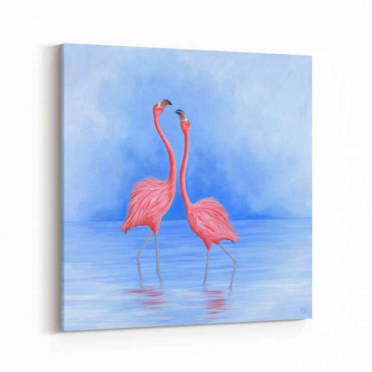 Flamingo Painting Friend Flamingo Dance Canvas on Wall Angled