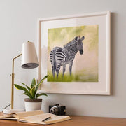 Zebra Painting African Beauty Framed Rag Paper Print Angled