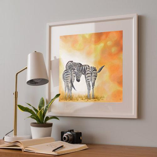 Zebra Painting Two of a Kind Framed Print Angled