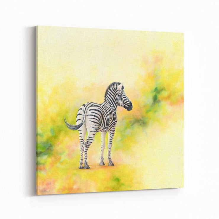 Zebra Painting Stand Alone Canvas on Wall Angled
