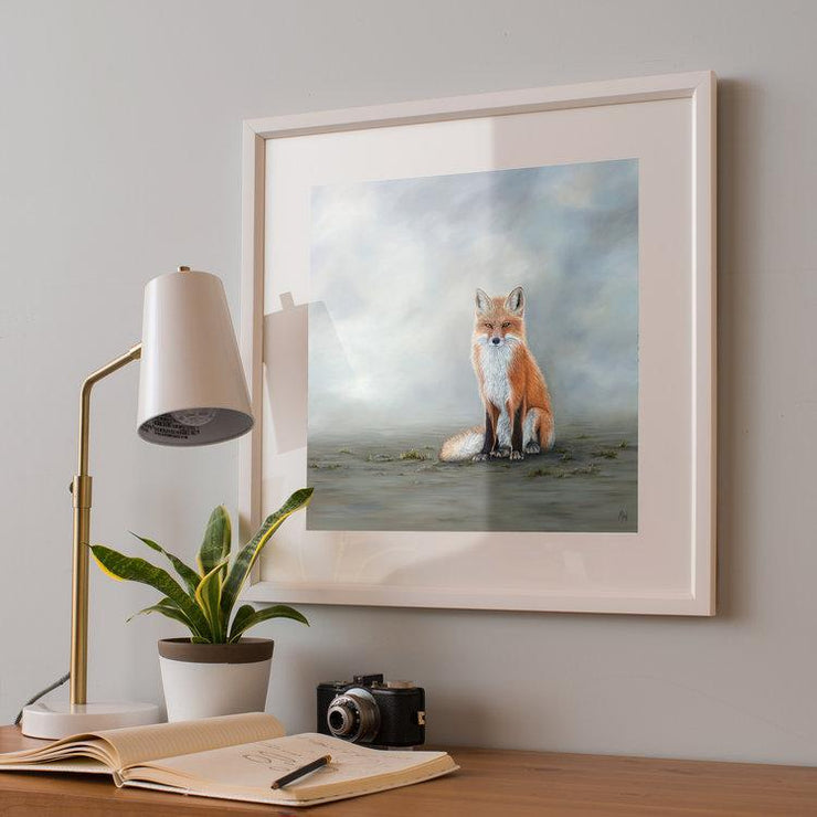 Fox Painting The Waiting Game Framed Rag Paper Print Angled