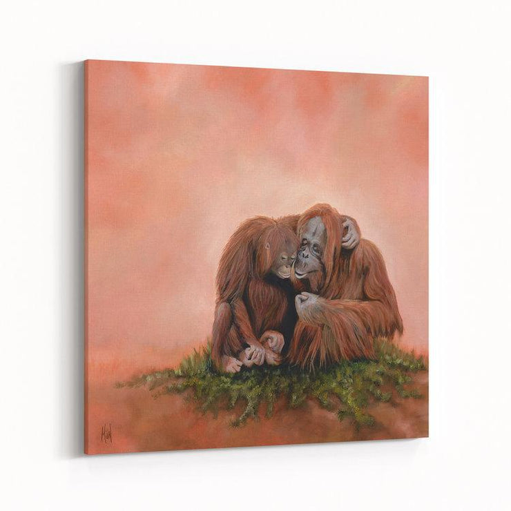 Orangutan Painting The Two of Us Canvas on Wall Angled