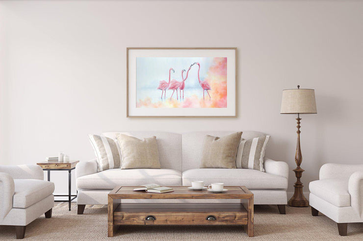 Flamingo Painting Pink Flamingos Framed Rag Paper Print Above Lounge Warm