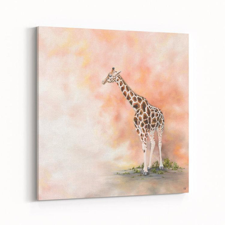 Giraffe Painting Alone in the Dust Canvas on Wall Angled