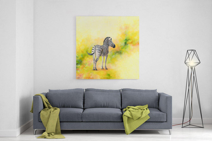 Zebra Painting Stand Alone Canvas on Wall Above Lounge