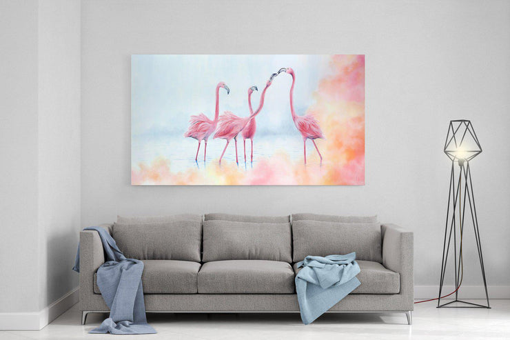 Flamingo Painting Pink Flamingos Framed Rag Paper Print Above Lounge Cool