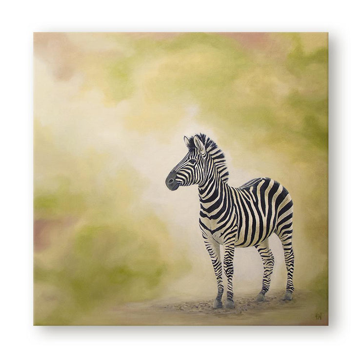 Zebra Painting At Dusk Canvas on Wall